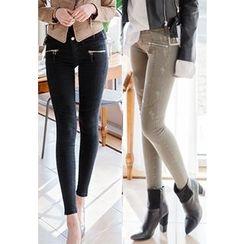 REDOPIN - Zip-Detail Distressed Pants