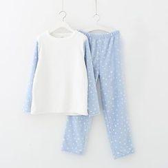 Meimei - Pajama Set : Plain Top + Dotted Pants