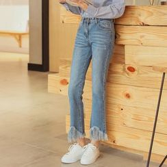 Morever - Washed Fringe-Trim Slim-Fit Jeans