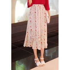 Cherryville - Pleated-Hem Floral-Pattern Skirt