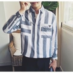 Bestrooy - Letter Embroidered Striped Shirt