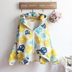 akigogo - Bear Print Hooded Zip Jacket