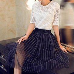 Quintess - Set: Short-Sleeve Lace Top + Striped Mesh Midi Skirt