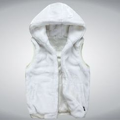Bay Go Mall - Faux Fur Hooded Vest