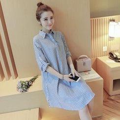 Hearty Bliss - 孕婦細條紋棉麻襯衫裙