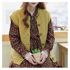 Sechuna - Round-Neck Buttoned Knit Vest