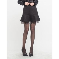 GUMZZI - Lace-Trim Ruffle-Hem Skirt