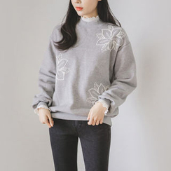 JUSTONE - Floral Embroidered Brushed-Fleece Lined Sweatshirt