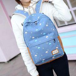 Seok - 套装: 雨伞印花帆布背包 + 手拿包