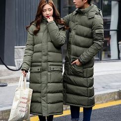 Bay Go Mall - Couple Matching Plain Hooded Long Padded Coat