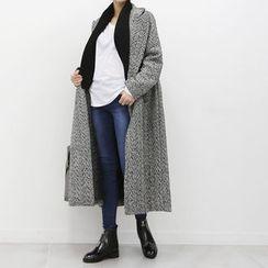 DANI LOVE - Herringbone Wool Blend Long Coat