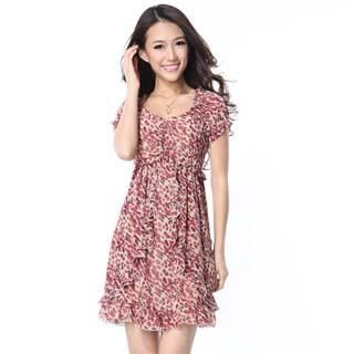 O.SA - Leopard-Print Ruffled Chiffon Dress