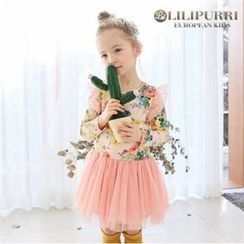 LILIPURRI - Girls Rose Pattern Tulle Dress