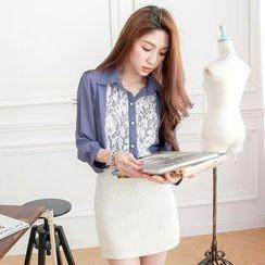 Tokyo Fashion - 3/4 Sleeve Lace-Panel Chiffon Shirt