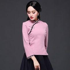 Ebbie - 钩花边长袖旗袍上衣