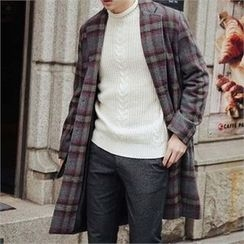 STYLEMAN - Single-Breasted Check Coat