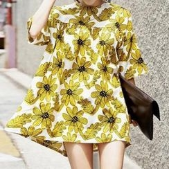 Chika - Short-Sleeve Floral Tunic