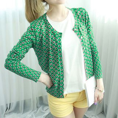 Dodostyle - Floral Patterned Round-Neck Cardigan