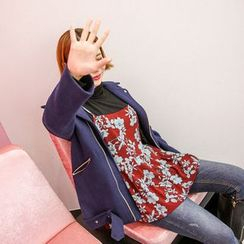 Seoul Fashion - Belted Wool Blend Biker Jacket
