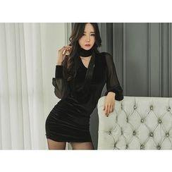 UUZONE - Sheer-Sleeve Velvet Dress