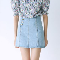 Sens Collection - Side Buttoned A-Line Mini Denim Skirt