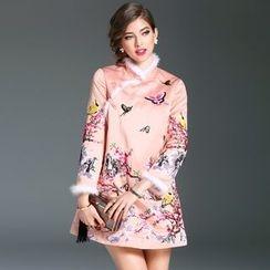 Elabo - Furry Trim Embroidered A-Line Dress