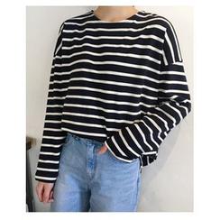 FROMBEGINNING - Drop-Shoulder Striped T-Shirt