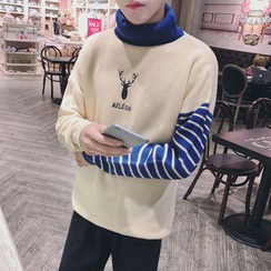 Breeson - Deer Embroidered Striped Panel Sweater