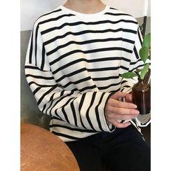 FROMBEGINNING - Fleece-Lined Striped T-Shirt