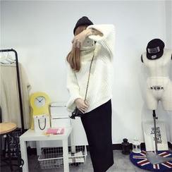 Qimi - Slit Back Midi Knit Skirt
