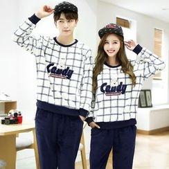 SHIRLEY - Couple Matching Pajama Set: Window Pane Pullover + Pants