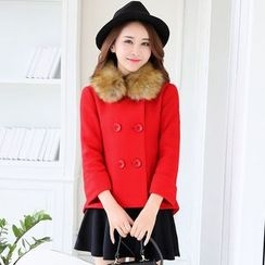 Polpetta - Furry-Collar Double-Breasted Jacket