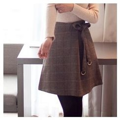MASoeur - Beribboned Herringbone Wool Blend A-Line Skirt
