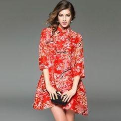 Queen Mulock - 3/4-Sleeve Silk Linen Print Dress