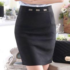 illusione - Paneled Pencil-Cut Skirt