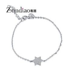 Zundiao - Rhinestone Hexagram Charm Bracelet