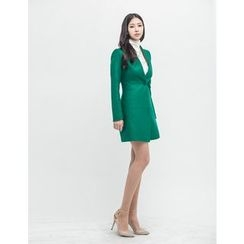 GUMZZI - Collarless Wool Blend Coat