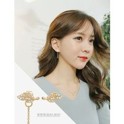 soo n soo - Rhinestone Leaf Asymmetric Earrings