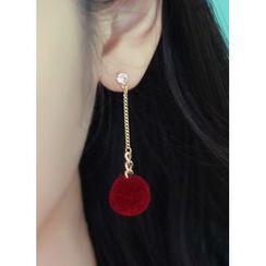 kitsch island - Pompom Drop Earrings