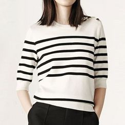 Obel - Striped Elbow Sleeve Knit Top