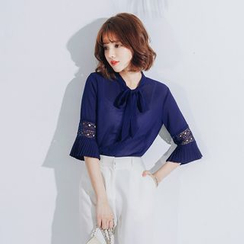 Tokyo Fashion - Tie-Neck Pleated Blouse