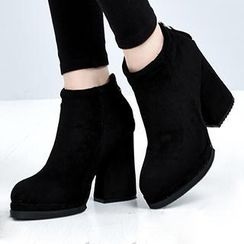 Mancienne - Pointy-Toe Chunky-Heel Ankle Boots