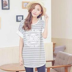 YoungBaby - Short-Sleeve Striped Top