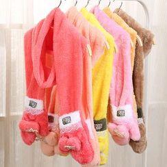 Rita Zita - Lace Trim Furry Scarf With Gloves