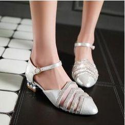 Tomma - Rhinestone Pointy Sandals