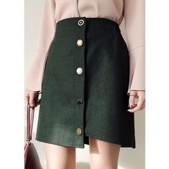 J-ANN - Button-Accent Wool Blend Mini Wrap Skirt