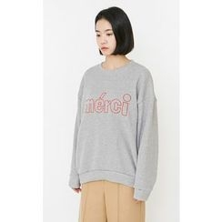 Someday, if - Lettering Embroidered Sweatshirt
