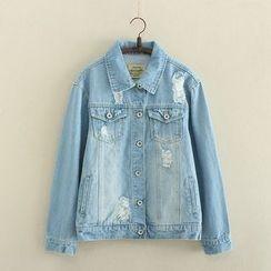 Aigan - 水洗做舊飾扣牛仔夾克