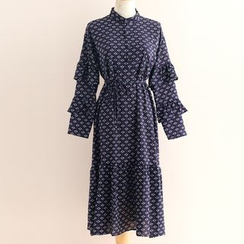 11.STREET - Ruffle Sleeve Patterned Midi Dress