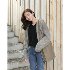 UPTOWNHOLIC - Wool Blend Cable-Knit Cardigan